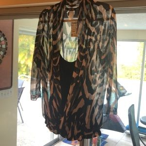 NWT Only Nine sheer with back tank underneath, XL